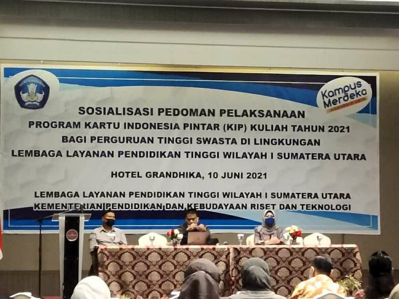 WAKIL REKTOR III HADIRI SOSIALISASI PEDOMAN PELAKSANAAN PROGRAM KARTU INDONESIA PINTAR (KIP) KULIAH TAHUN 2021 BAGI PTS DI LINGKUNGAN LLDIKTI WILAYAH I SUMUT